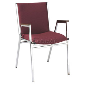 """Durable Multi-Purpose Arm Stack Chair - 2"""" thick Seat Burgundy Fabric"""