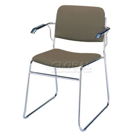 KFI Stack Chair with Arms and Sled Base - Brown Fabric