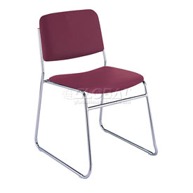 Sled Base Armless Stack Chair - Burgundy Vinyl