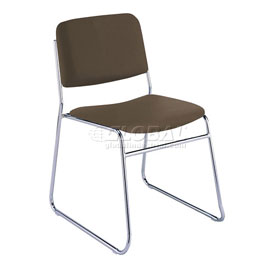 KFI Armless Stack Chair with Sled Base - Brown Vinyl
