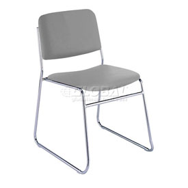 KFI Armless Stack Chair with Sled Base - Light Gray Vinyl