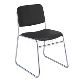 KFI Armless Stack Chair with Sled Base - Black Vinyl