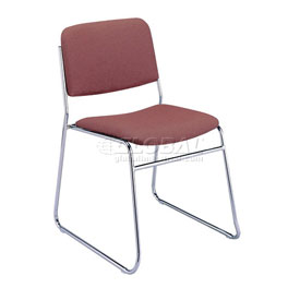 KFI Armless Stack Chair with Sled Base - Burgundy Fabric