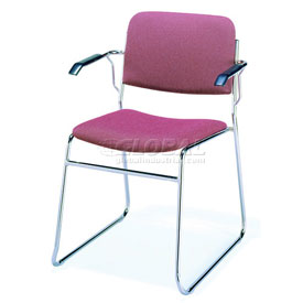 Sled Base Arm Stack Chair - Burgundy Fabric
