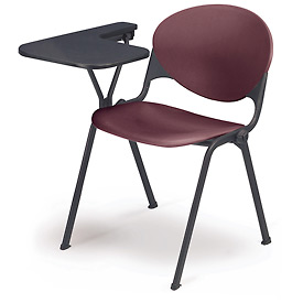 Designer Stacking Arm Chair Desk W/ Right Handed Tablet   Burgundy Seat U0026  Back