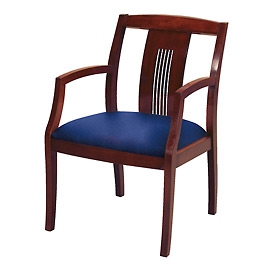 Classic Wood Guest Chair - Slat Back, Navy Fabric, Dark Cherry Finish