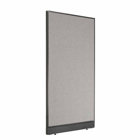 "Interion™ Office Partition Panel with Raceway, 36-1/4""W x 64""H, Gray"