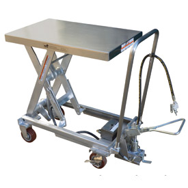 Vestil Stainless Steel Pneumatic Mobile Scissor Lift Table AIR-1000-PSS 1000 Lb. by