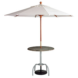 Grosfillex 9' Wooden Market Outdoor Umbrella, White by