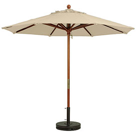 Grosfillex 9' Wooden Market Outdoor Umbrella, Khaki by