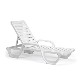 Grosfillex® Bahia Adjustable Resin Chaise - White (Sold in Pk. Qty 18) - Pkg Qty 18