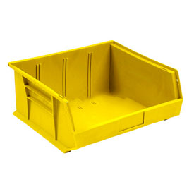Global™ Plastic Stacking And Hang Parts Bin 11 x 10-7/8 x 5, Yellow - Pkg Qty 6
