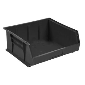 Global™ Plastic Stacking Bins - Parts Storage Bin 11 x 10-7/8 x 5, Black - Pkg Qty 6