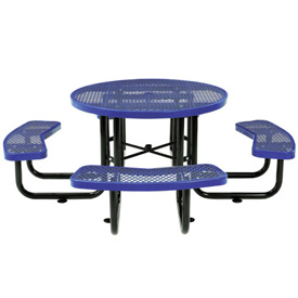 "46"" Round Expanded Metal Picnic Table Blue"
