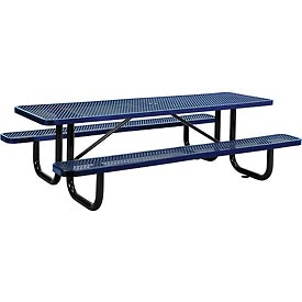 "96"" Rectangular Expanded Metal Picnic Table Blue"
