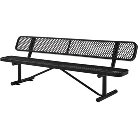 "96""  Expanded Metal Mesh Bench With Back Rest Black"