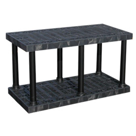 "Structural Plastic Solid Shelving, 48""W x 24""D x 27""H, Black"