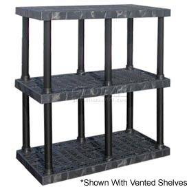 "Structural Plastic Solid Shelving, 48""W x 24""D x 51""H, Black"