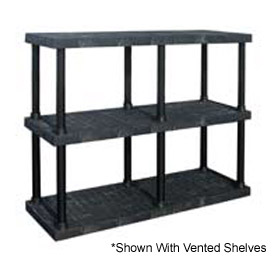 "Structural Plastic Solid Shelving, 66""W x 24""D x 51""H, Black"