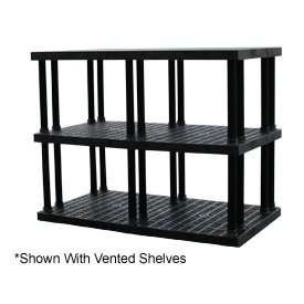 "Structural Plastic Solid Shelving, 96""W x 36""D x 51""H, Black"