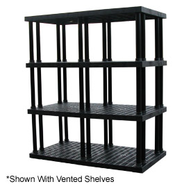 """Structural Plastic Solid Shelving, 96""""W x 36""""D x 75""""H, Black"""