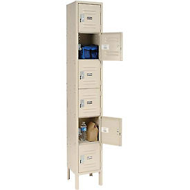 Global™ Locker Six Tier 12x18x12 6 Door Ready To Assemble Tan