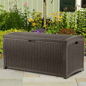 Suncast® Wicker Deck Box, 73 Gallon