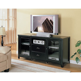Tribeca Loft Black Tall TV Stand - Midnight Smoke Black
