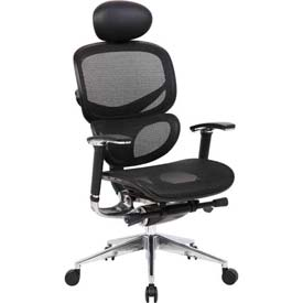 Boss Ergonomic Mesh Back Task Chair with Headrest - High Back - Black