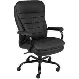 Big and Tall Executive Chair with Arms and Pillow Top - Vinyl - High Back - Black