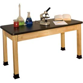 "Allied Plastics Science and Lab Table - Chemical Resistant, Hardwood Frame 24"" x 72"""