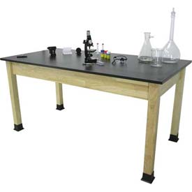 "Allied Plastics Science and Lab Table - Phenolic Top - Solid Hardwood Frame 42"" x 60"""