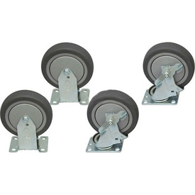 "Jamco 5"" x 1-1/4"" Thermorubber Caster Kit T5 B5 set, 2 Rigid, 2 Swivel with Brakes"
