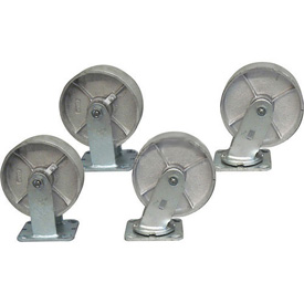 "Jamco 5"" x 1-1/4"" Steel Caster Kit L5 set, 2 Rigid, 2 Swivel"