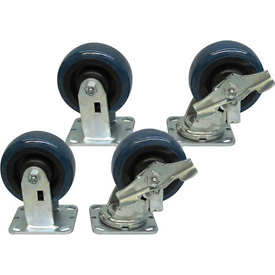 "Jamco 5"" x 2"" Urethane Caster Kit U7 B7 set, 2 Rigid, 2 Swivel with Brakes"