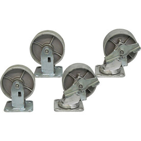 "Jamco 5"" x 2"" Steel Caster Kit L7 B7 set, 2 Rigid, 2 Swivel with Brakes"