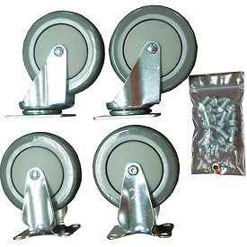 "Durham Mfg® 5"" x 1-1/4"" Polyurethane Caster Kit HC-5PU-R/S, 2 Rigid, 2 Swivel"
