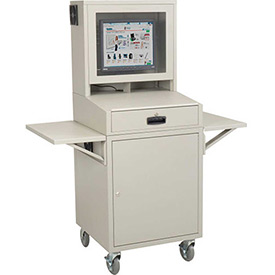 Mobile Security LCD Computer Cabinet Enclosure Complete Bundle - Gray