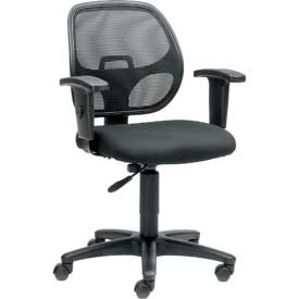 Mesh Office Chair with Arms - Fabric - Black