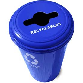 Round Steel Blue Recycling Container With Combo Lid - 20 Gallon Capacity