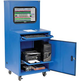 Deluxe LCD Industrial Computer Cabinet, Blue, Unassembled