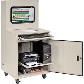 Deluxe LCD Industrial Computer Cabinet, Gray, Unassembled