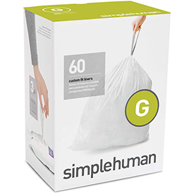 simplehuman® Trash Can Liner Code G - 8 Gallon, 17.5 x 28, 1.18 Mil, White, Pack of 240