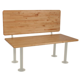 """ADA Locker Room Bench With Seat, Back and Pedestal 48""""W x 24""""D x 17-1/4""""H"""