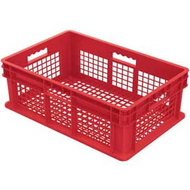 "Akro-Mils Straight Wall Container 37608 Mesh Sides & Base 23-3/4""L x 15-3/4""W x 8-1/4""H / Red - Pkg Qty 4"