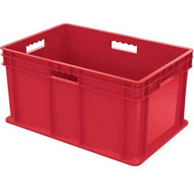 "Akro-Mils Straight Wall Container 37682 Solid Sides & Base 23-3/4""L x 15-3/4""W x 12-1/4""H, Red - Pkg Qty 3"