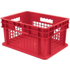 "Akro-Mils Straight Wall Container 37278 Mesh Sides Solid Base 15-3/4""L x 11-3/4""W x 8-1/4""H, Red - Pkg Qty 12"