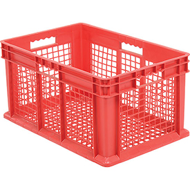 """Akro-Mils Straight Wall Container 37612 Mesh Sides & Base 23-3/4""""L x 15-3/4""""W x 12-1/4""""H, Red - Pkg Qty 3"""