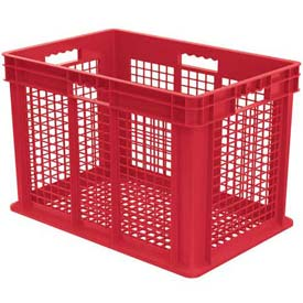 "Akro-Mils Straight Wall Container 37616 Mesh Sides & Base 23-3/4""L x 15-3/4""W x 16-1/8""H, Red - Pkg Qty 2"