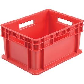 "Akro-Mils Straight Wall Container 37288 Solid Sides & Base 15-3/4""L x 11-3/4""W x 8-1/4""H, Red - Pkg Qty 12"